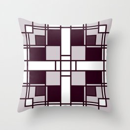 Neoplasticism symmetrical pattern in pinkish gray Throw Pillow