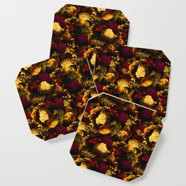 melancholy flowers small seamless pattern 01 edgy ember Coaster