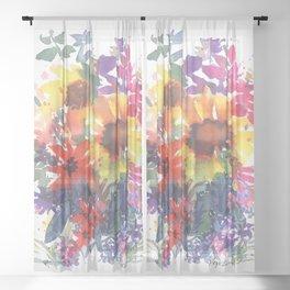 Rainy Day Sunflowers Sheer Curtain