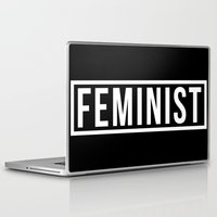 feminist Laptop & iPad Skins featuring Feminist Black by jupiter