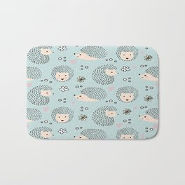 So Many Happy Little Hedgehogs To Hug Pattern Bath Mat
