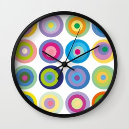 Colour Fields Circles Colorful Abstract Modern Art Wall Clock