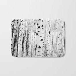 Black and White Aspen Trees Bath Mat