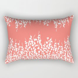 Pussywillow Silhouettes — Living Coral Rectangular Pillow