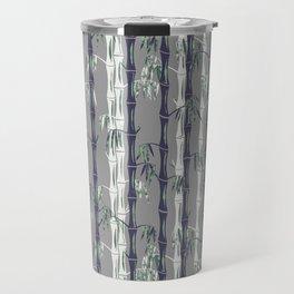 Bamboo Forest Pattern - Grey Blue White Travel Mug