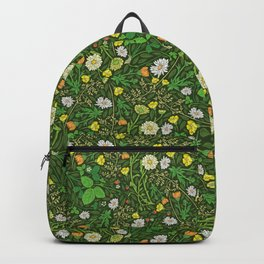 Yellow buttercup and daisies with wild strawberries on grass Backpack