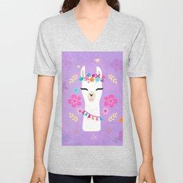 Cute Happy Llama - Purple Boho Alpaca with Flowers Unisex V-Neck