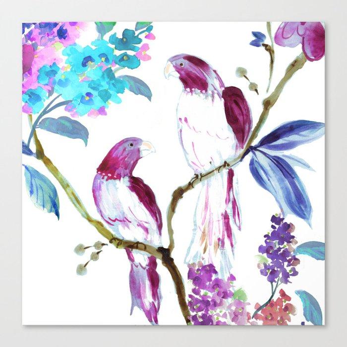 bird tropics floral Canvas Print