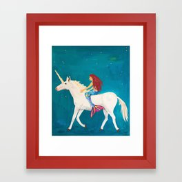 Red Haired Mermaid Rides the Unicorn Framed Art Print