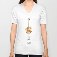 ostrich V-neck T-shirts featuring Hello Ostrich by Duru Eksioglu