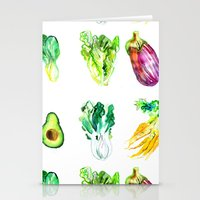 vegetables Stationery Cards featuring Vegetables by Naomi Bardoff