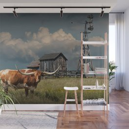 Longhorn Steer in a Prairie pasture by 1880 Town with Windmill and Old Gray Wooden Barn Wall Mural