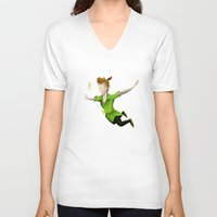 peter pan V-neck T-shirts featuring Peter Pan by JackEmmett