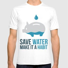 SAVE WATER Mens Fitted Tee White MEDIUM