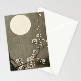 Blossoming plum tree at full moon  - Vintage Japanese Woodblock Print Art Stationery Cards