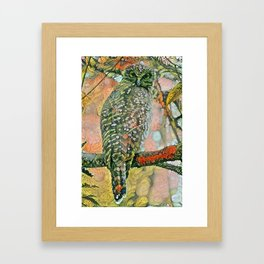 Powerful Owl flora Framed Art Print