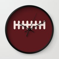 football Wall Clocks featuring Football by KatieKatherine