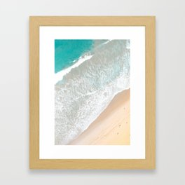 Aerial Beach, Santa Monica, Soft Waves Framed Art Print