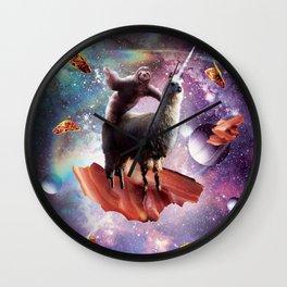 Space Sloth Riding Llama Unicorn - Bacon & Taco Wall Clock