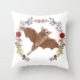 Fruitbat in Floral Wreath Throw Pillow