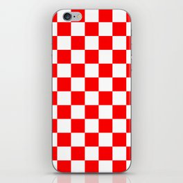 Checkered - White and Red iPhone Skin