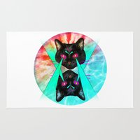 hippy Area & Throw Rugs featuring Hippy Cats #2 by Lauren Miller