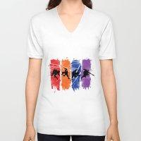 ninja turtles V-neck T-shirts featuring TEENAGE MUTANT NINJA TURTLES by Beka