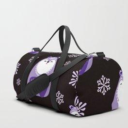 Purple Christmas Bears With Snowflakes Duffle Bag
