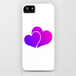 Pink and Purple Gradient Double Hearts iPhone Case