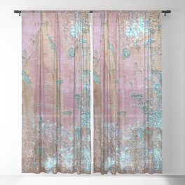 Abstract turquoise flowers on colorful rusty background Sheer Curtain