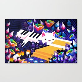 Piano Cat in the Forest Canvas Print