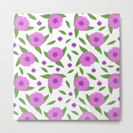Pinky Blossoms Scatter Print Metal Print
