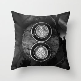 Coffees (Black and White) Throw Pillow