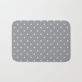 Small White Polka Dots with Grey Background Bath Mat