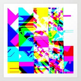 Glitch geometric pattern design artwork Art Print