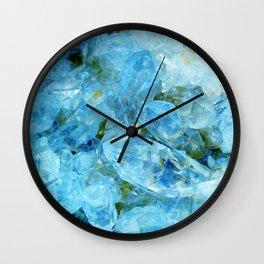 Aqua Blue Geode Crystal Wall Clock
