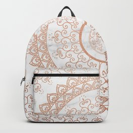 Mandala - rose gold and white marble Backpack