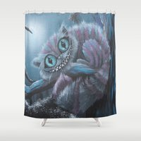 cheshire cat Shower Curtains featuring Cheshire Cat by Annelies202