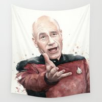 picard Wall Tapestries featuring Annoyed Picard Meme  by Olechka