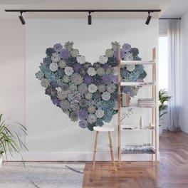 Succulent heart Blue Wall Mural