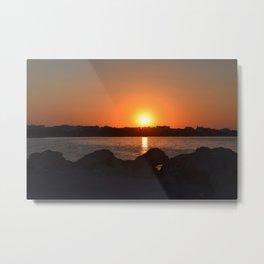 Red Sunset on Tunisian Beach Metal Print