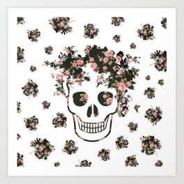 Flower Skull, Floral Skull, Pink Flowers on Human Skull Art Print