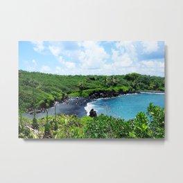 Black Sand Beach, Maui Metal Print