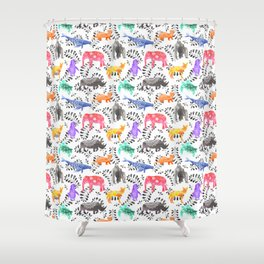 Endangered Animals Watercolor Pattern Shower Curtain