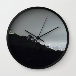 Griffith Park Observatory and Los Angeles Skyline at Night Wall Clock