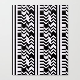 Striped Kilim in Black + Bone Canvas Print