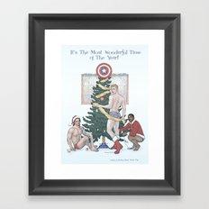 Team Cap Nice Pinup Holiday Card Framed Art Print