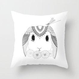 Bunny, Daisy, and Dragonfly Throw Pillow