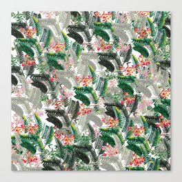 Tropical Leaves with Flowers Canvas Print