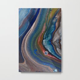 Dark Blue Metallic Fluid Pour Flow Metal Print